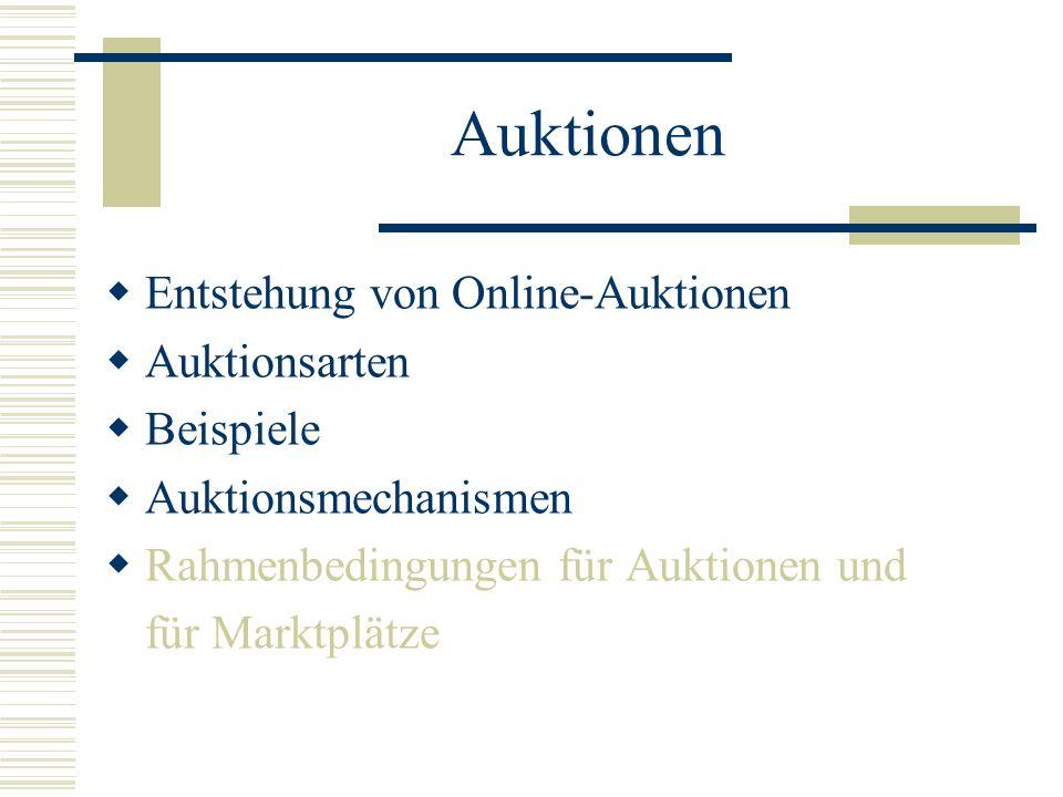 Auktionen Entstehung von Online-Auktionen Auktionsarten Beispiele Auktionsmechanismen Rahmenbedingungen für Auktionen und für Marktplätze