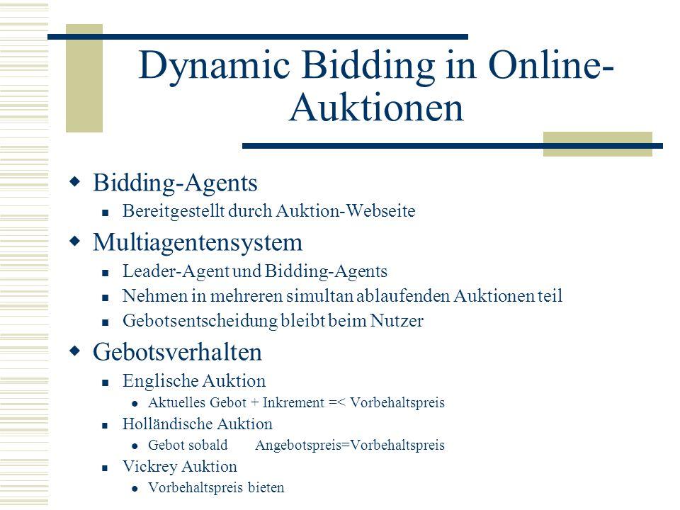 Dynamic Bidding in Online- Auktionen Bidding-Agents Bereitgestellt durch Auktion-Webseite Multiagentensystem Leader-Agent und Bidding-Agents Nehmen in
