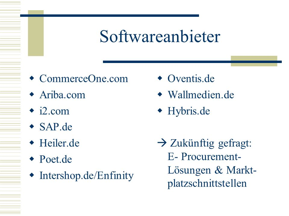 Softwareanbieter CommerceOne.com Ariba.com i2.com SAP.de Heiler.de Poet.de Intershop.de/Enfinity Oventis.de Wallmedien.de Hybris.de Zukünftig gefragt: