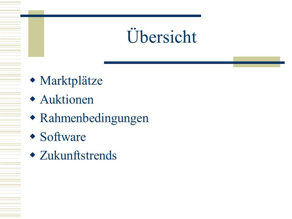 Übersicht Marktplätze Auktionen Rahmenbedingungen Software Zukunftstrends
