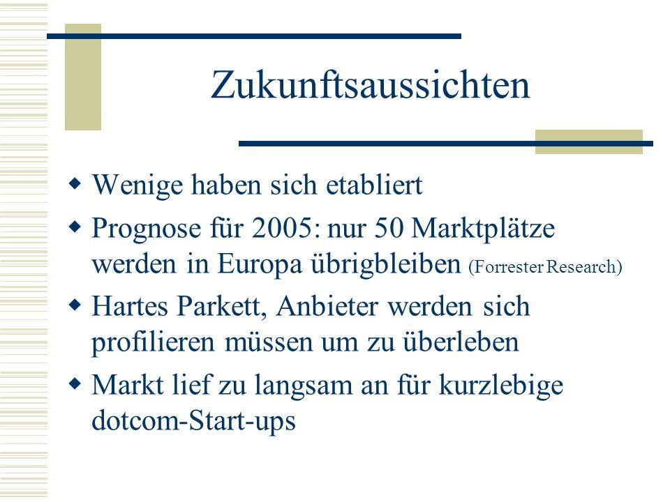 Zukunftsaussichten Wenige haben sich etabliert Prognose für 2005: nur 50 Marktplätze werden in Europa übrigbleiben (Forrester Research) Hartes Parkett