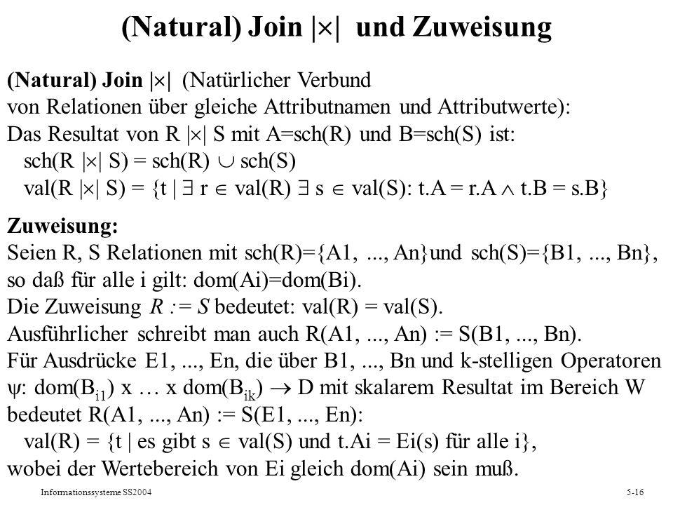 Informationssysteme SS20045-16 (Natural) Join | | und Zuweisung (Natural) Join | | (Natürlicher Verbund von Relationen über gleiche Attributnamen und