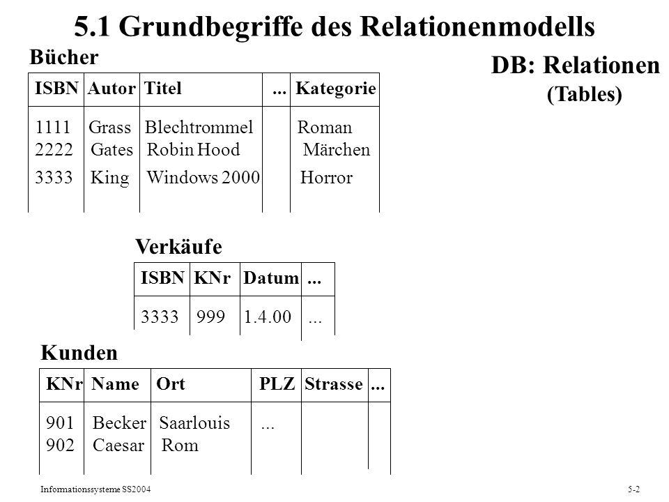 Informationssysteme SS20045-13 Selektion und Projektion Selektion (Filterung, Auswahl von Zeilen einer Tabelle): Das Resultat einer Selektion [F](R) auf einer Relation R ist: sch( [F](R)) = sch(R) val( [F](R)) = {t | t R F(t)} Die Menge der möglichen Filterformeln F ist: 1)Für Attr.