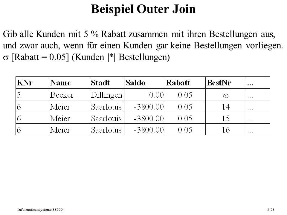 Informationssysteme SS20045-23 Beispiel Outer Join Gib alle Kunden mit 5 % Rabatt zusammen mit ihren Bestellungen aus, und zwar auch, wenn für einen K