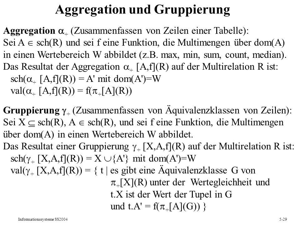 Informationssysteme SS20045-29 Aggregation und Gruppierung Aggregation + (Zusammenfassen von Zeilen einer Tabelle): Sei A sch(R) und sei f eine Funkti