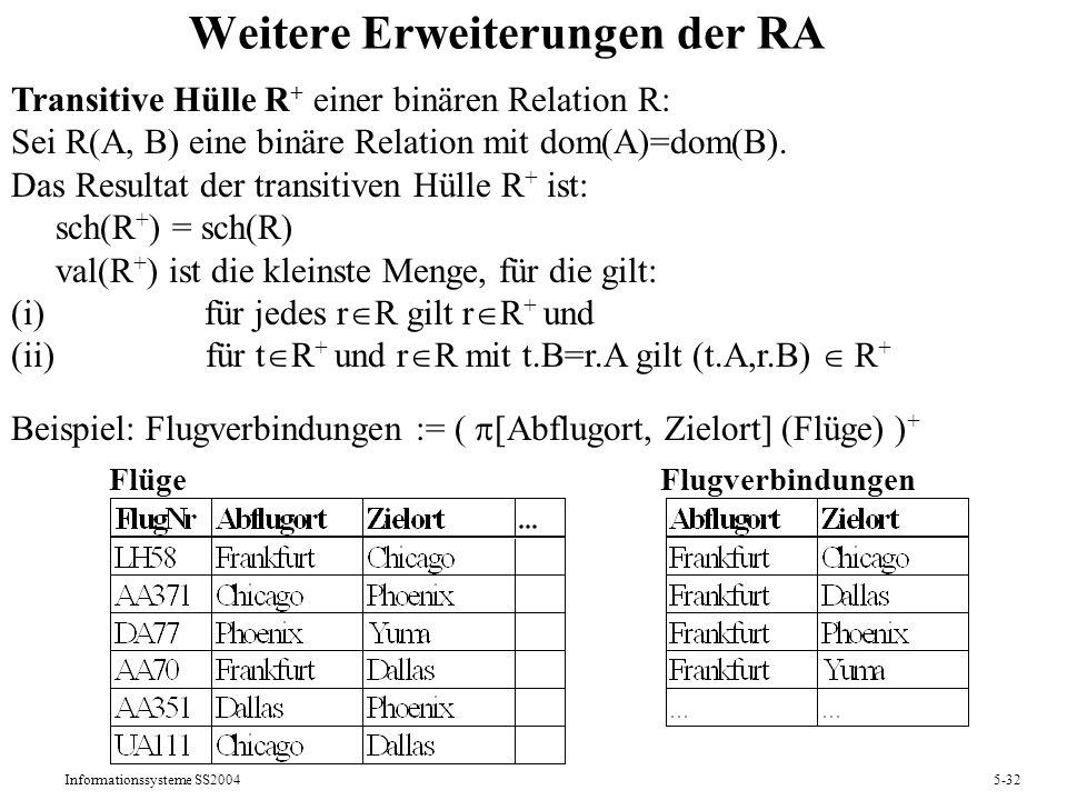 Informationssysteme SS20045-32 Weitere Erweiterungen der RA Transitive Hülle R + einer binären Relation R: Sei R(A, B) eine binäre Relation mit dom(A)