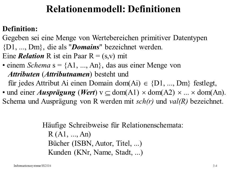 Informationssysteme SS20045-25 Äquivalenzregeln (Rechenregeln) der RA Kommutativitätsregeln: 1) [R1] [P] (R) = [P] [R1] (R) falls P nur R1-Attribute enthält 2) R |x| S = S |x| R Assoziativitätsregeln: 3) R |x| ( S |x| T ) = ( R |x| S ) |x| T Idempotenzregeln: 4) [R1] ( [R2] (R) ) = [R1] (R) falls R1 R2 5) [P1] ( [P2] (R) ) = [P1 P2] (R) Distributivitätsregeln: 6) [R1] ( R S ) = [R1](R) [R1](S) 7) [P] ( R S ) = [P](R) [P](S) 8) [P] ( R |x| S ) = [P](R) |x| S falls P nur R-Attribute enthält 9) [R1,S1](R |x| S) = [R1](R) |x| [S1](S) falls Joinattribute R1 S1 10) R |x| ( S T ) = (R |x| S) (R |x| T) Invertierungsregeln: 11) [sch(R)] (R ||* S)=R