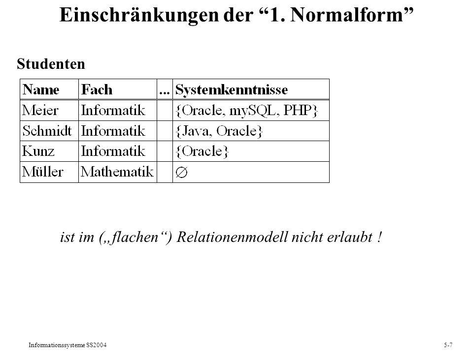 Informationssysteme SS20045-28 Operationen auf Multimengen und -relationen Für Multirelationen R, S mit sch(R) = sch(S) sind: Vereinigung R + S: sch(R + S) = sch(R), val(R + S) = t R(t) + S(t) Durchschnitt R + S: sch(R + S) = sch(R), val(R + S) = t min(R(t), S(t)) Differenz R + S: sch(R + S) = sch(R), val(R + S) = t R(t)-S(t) falls R(t) S(t), 0 sonst Das Resultat der Selektion + [F](R) auf einer Multirelation R ist: sch( + [F](R)) = sch(R), val( + [F](R)) = t R(t) falls R(t) F(t), 0 sonst Das Resultat der Projektion + [A](R) auf einer Multirelation R mit A sch(R) ist: sch( + [A](R)) = A, val( + [A](R)) = t {R(r) | r val(R)und r.A = t.A}