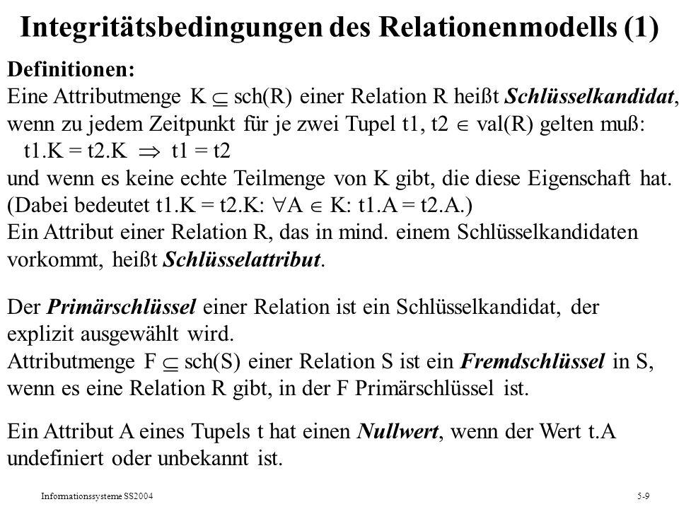Informationssysteme SS20045-9 Integritätsbedingungen des Relationenmodells (1) Definitionen: Eine Attributmenge K sch(R) einer Relation R heißt Schlüs