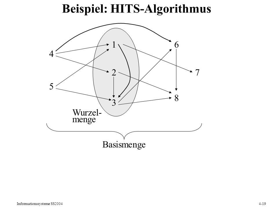 Informationssysteme SS20044-19 Beispiel: HITS-Algorithmus 1 2 3 Wurzel- menge 4 5 6 7 8 Basismenge