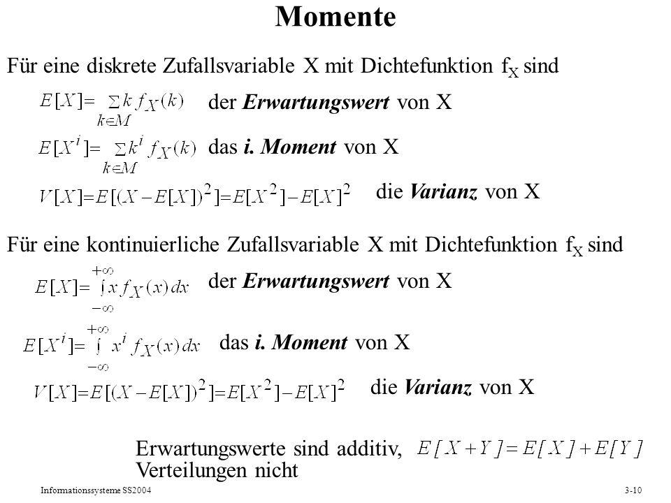Informationssysteme SS20043-10 Momente Für eine diskrete Zufallsvariable X mit Dichtefunktion f X sind der Erwartungswert von X das i. Moment von X di