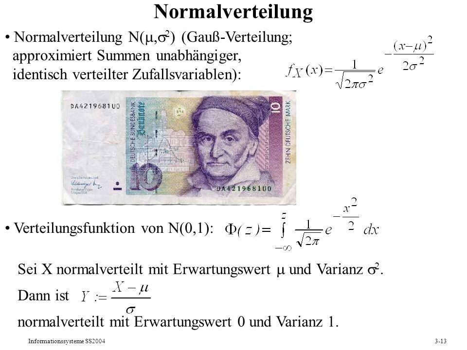 Informationssysteme SS20043-13 Normalverteilung Normalverteilung N(, 2 ) (Gauß-Verteilung; approximiert Summen unabhängiger, identisch verteilter Zufa