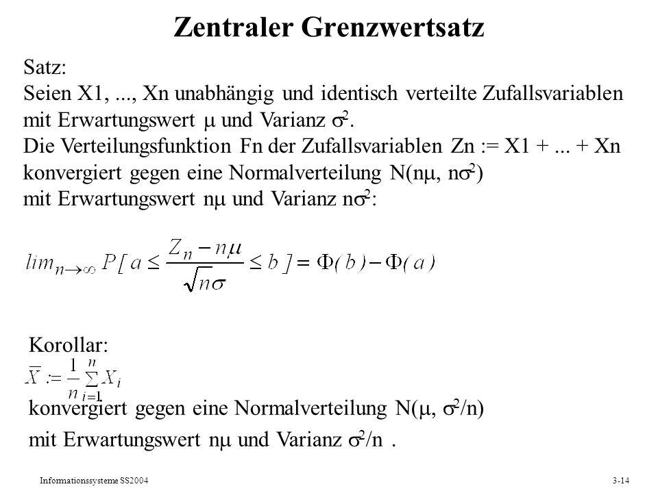 Informationssysteme SS20043-14 Zentraler Grenzwertsatz Satz: Seien X1,..., Xn unabhängig und identisch verteilte Zufallsvariablen mit Erwartungswert u