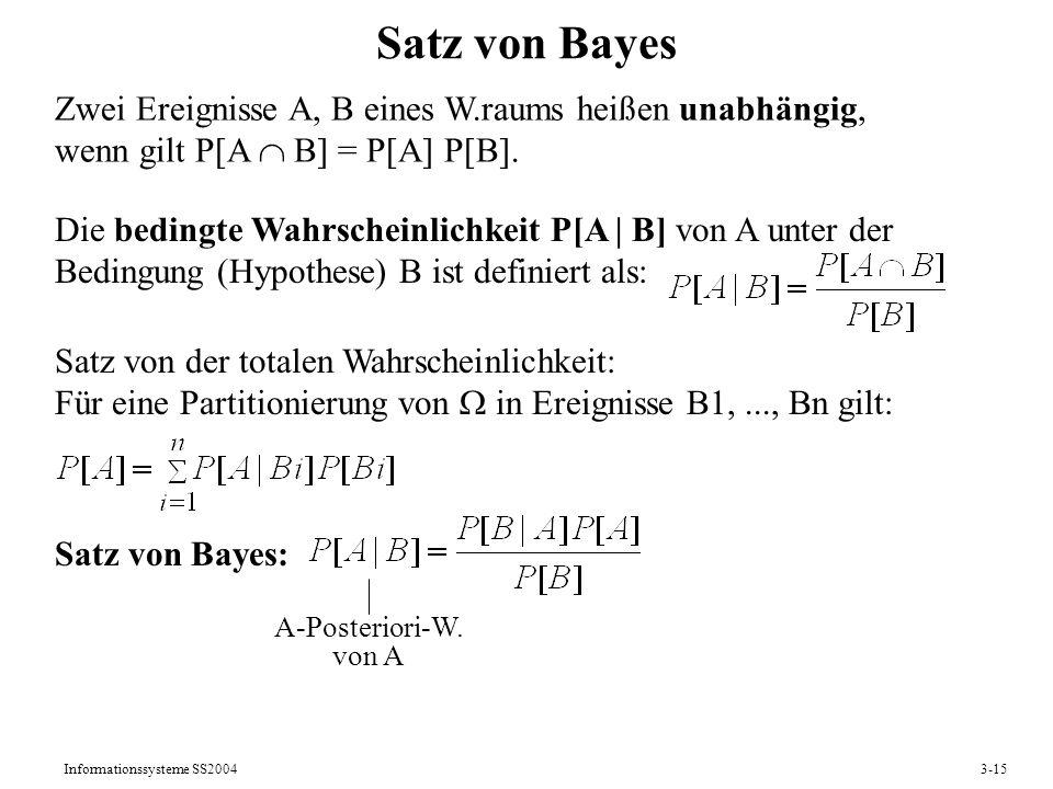 Informationssysteme SS20043-15 Satz von Bayes Zwei Ereignisse A, B eines W.raums heißen unabhängig, wenn gilt P[A B] = P[A] P[B]. Die bedingte Wahrsch