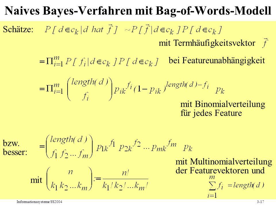 Informationssysteme SS20043-17 Naives Bayes-Verfahren mit Bag-of-Words-Modell Schätze: mit Termhäufigkeitsvektor bei Featureunabhängigkeit mit Binomia