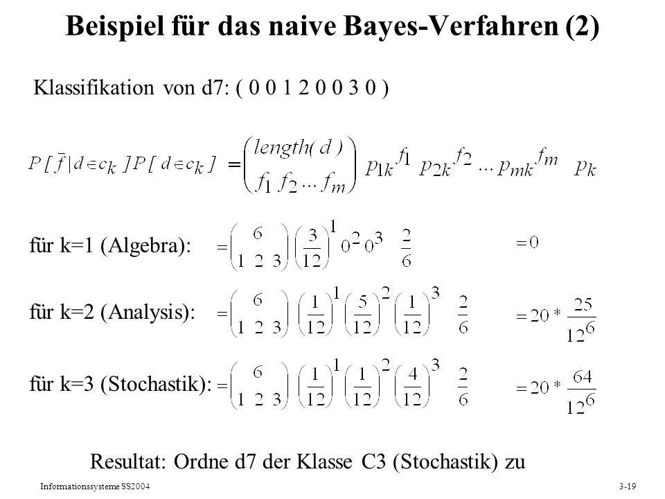 Informationssysteme SS20043-19 Beispiel für das naive Bayes-Verfahren (2) für k=1 (Algebra): für k=2 (Analysis): für k=3 (Stochastik): Klassifikation