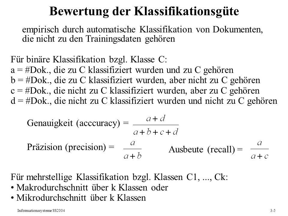 Informationssysteme SS20043-5 Bewertung der Klassifikationsgüte Für binäre Klassifikation bzgl. Klasse C: a = #Dok., die zu C klassifiziert wurden und