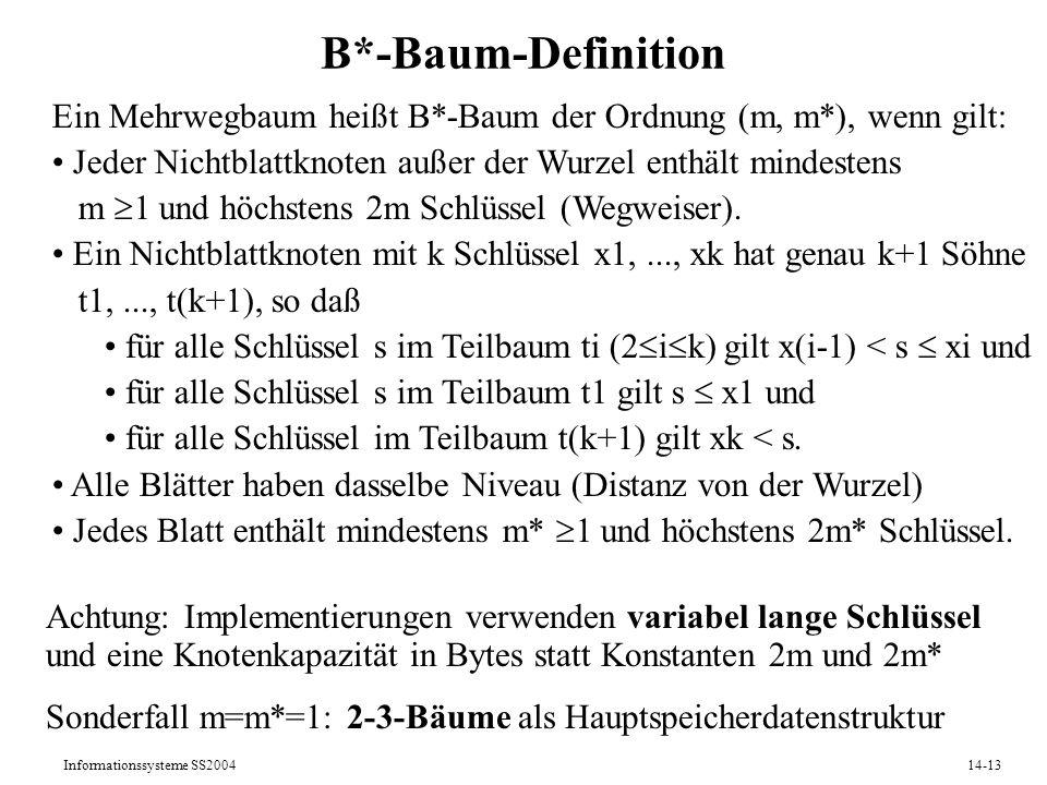 Informationssysteme SS200414-13 B*-Baum-Definition Ein Mehrwegbaum heißt B*-Baum der Ordnung (m, m*), wenn gilt: Jeder Nichtblattknoten außer der Wurz