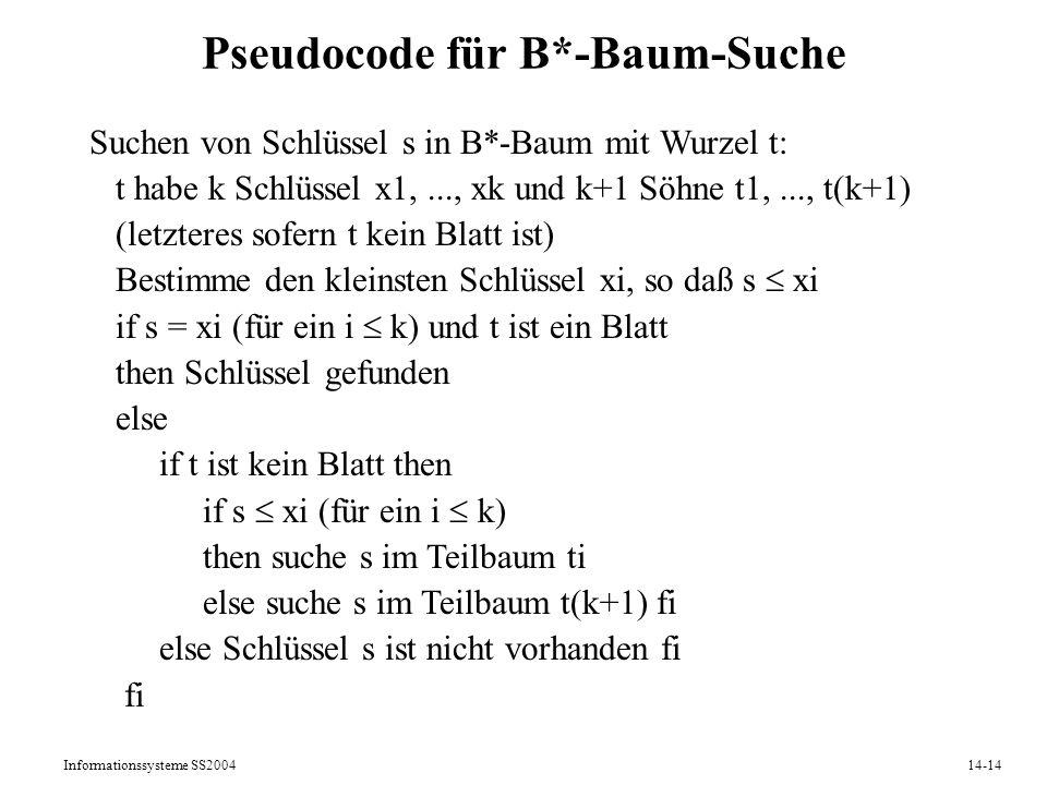 Informationssysteme SS200414-14 Pseudocode für B*-Baum-Suche Suchen von Schlüssel s in B*-Baum mit Wurzel t: t habe k Schlüssel x1,..., xk und k+1 Söh