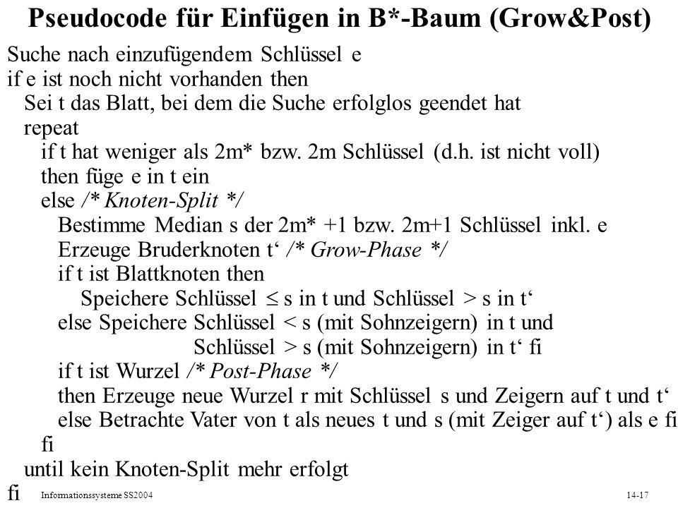 Informationssysteme SS200414-17 Pseudocode für Einfügen in B*-Baum (Grow&Post) Suche nach einzufügendem Schlüssel e if e ist noch nicht vorhanden then