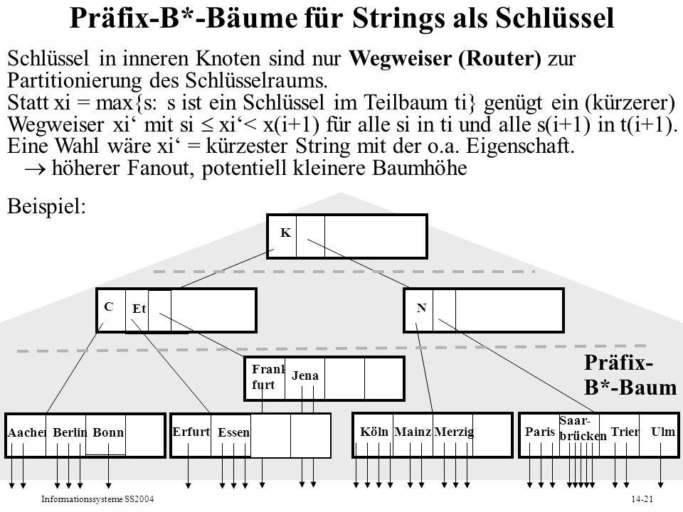 Informationssysteme SS200414-21 Präfix-B*-Bäume für Strings als Schlüssel Schlüssel in inneren Knoten sind nur Wegweiser (Router) zur Partitionierung