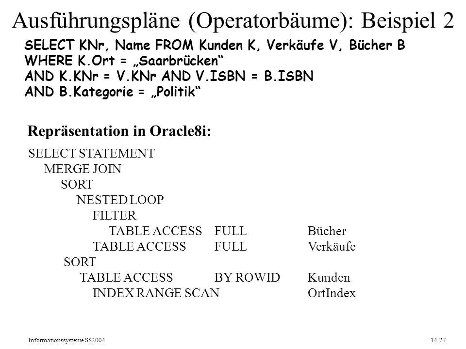 Informationssysteme SS200414-27 Ausführungspläne (Operatorbäume): Beispiel 2 SELECT KNr, Name FROM Kunden K, Verkäufe V, Bücher B WHERE K.Ort = Saarbr