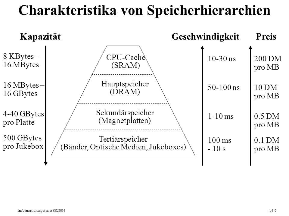 Informationssysteme SS200414-27 Ausführungspläne (Operatorbäume): Beispiel 2 SELECT KNr, Name FROM Kunden K, Verkäufe V, Bücher B WHERE K.Ort = Saarbrücken AND K.KNr = V.KNr AND V.ISBN = B.ISBN AND B.Kategorie = Politik Repräsentation in Oracle8i: SELECT STATEMENT MERGE JOIN SORT NESTED LOOP FILTER TABLE ACCESSFULLBücher TABLE ACCESSFULLVerkäufe SORT TABLE ACCESSBY ROWIDKunden INDEX RANGE SCANOrtIndex