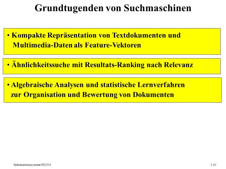 Informationssysteme SS20041-10 Kompakte Repräsentation von Textdokumenten und Multimedia-Daten als Feature-Vektoren Ähnlichkeitssuche mit Resultats-Ranking nach Relevanz Algebraische Analysen und statistische Lernverfahren zur Organisation und Bewertung von Dokumenten Grundtugenden von Suchmaschinen