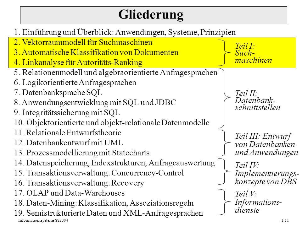 Informationssysteme SS20041-11 Gliederung 1.