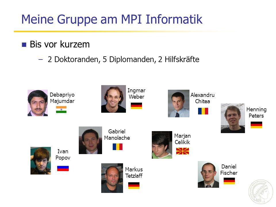 Meine Gruppe am MPI Informatik Alexandru Chitea Debapriyo Majumdar Marjan Celikik Ingmar Weber Henning Peters Daniel Fischer Ivan Popov Markus Tetzlaf