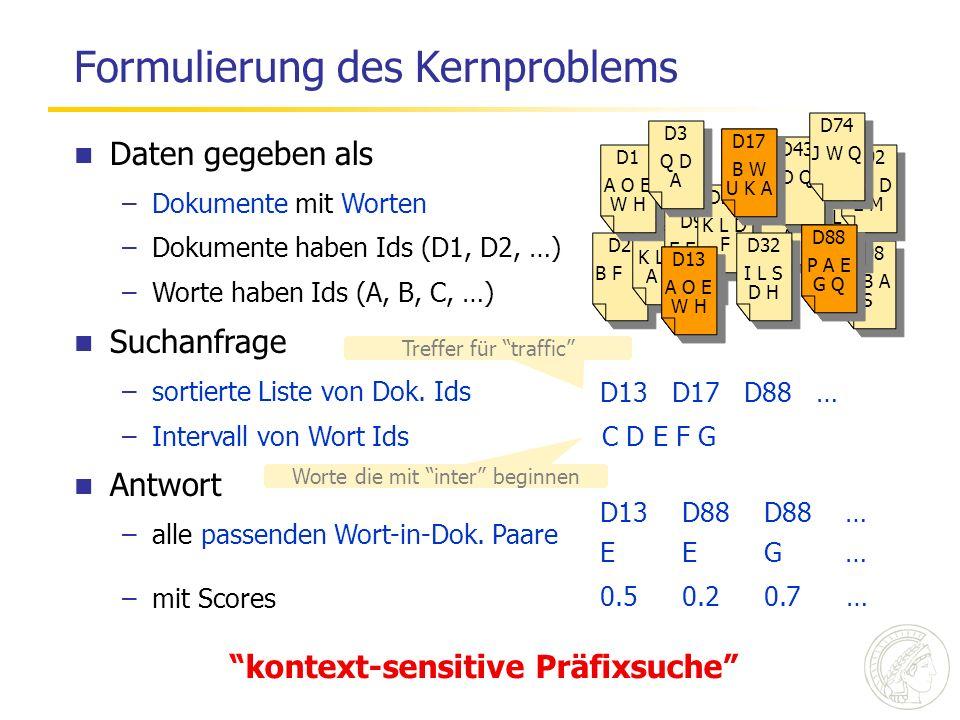 Daten gegeben als –Dokumente mit Worten –Dokumente haben Ids (D1, D2, …) –Worte haben Ids (A, B, C, …) Suchanfrage –sortierte Liste von Dok. Ids –Inte