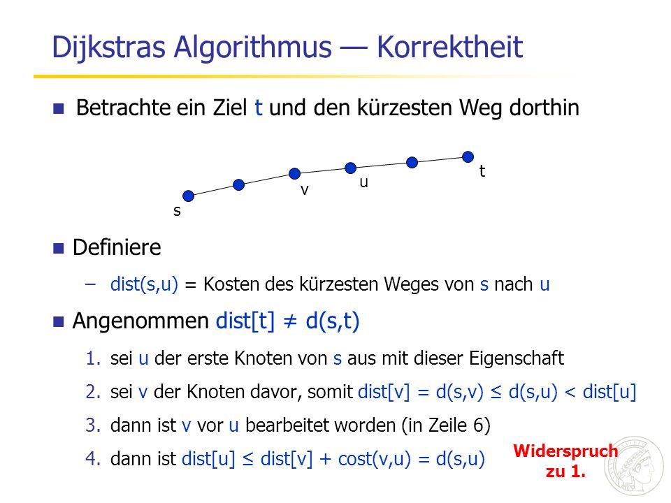 Dijkstras Algorithmus Korrektheit s t u v Definiere –dist(s,u) = Kosten des kürzesten Weges von s nach u Angenommen dist[t] d(s,t) 1.sei u der erste Knoten von s aus mit dieser Eigenschaft 2.sei v der Knoten davor, somit dist[v] = d(s,v) d(s,u) < dist[u] 3.dann ist v vor u bearbeitet worden (in Zeile 6) 4.dann ist dist[u] dist[v] + cost(v,u) = d(s,u) Betrachte ein Ziel t und den kürzesten Weg dorthin Widerspruch zu 1.