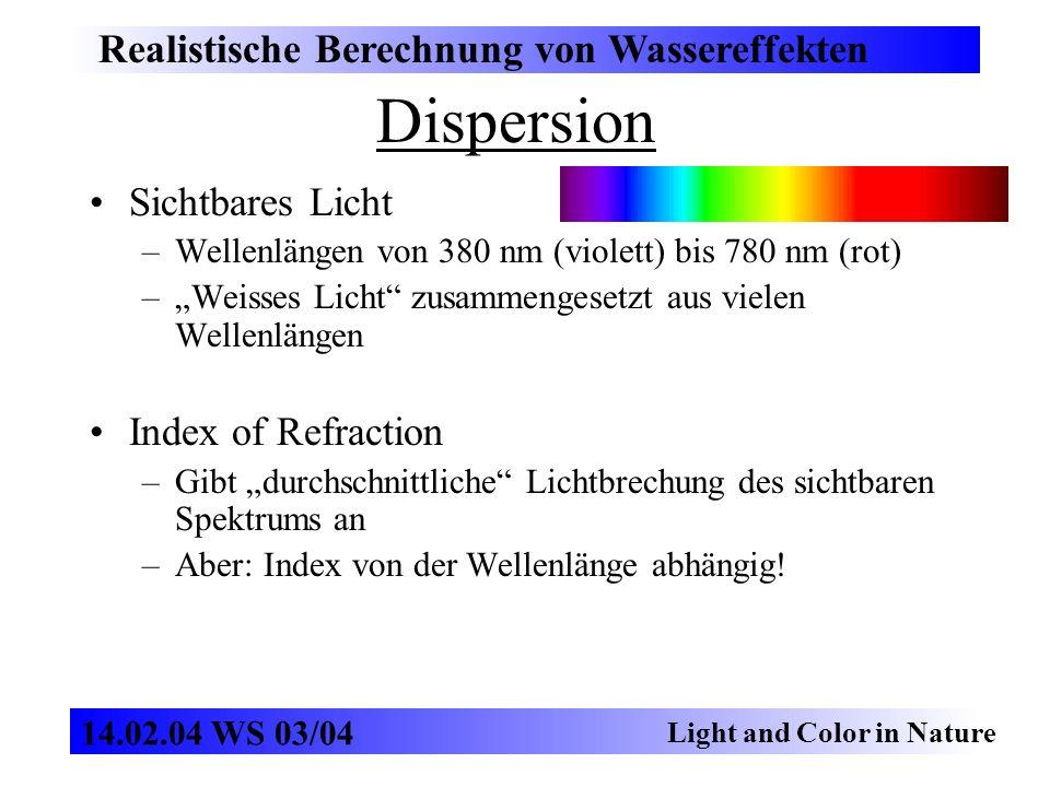Dispersion Realistische Berechnung von Wassereffekten Light and Color in Nature 14.02.04 WS 03/04 Sichtbares Licht –Wellenlängen von 380 nm (violett)