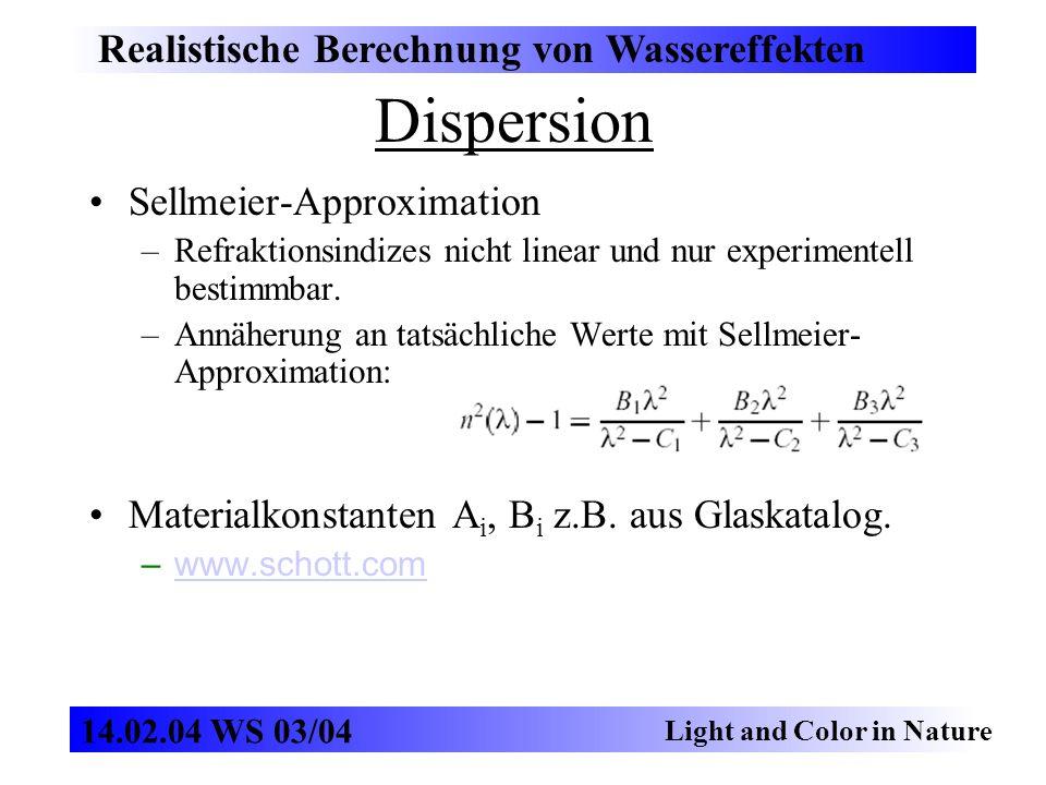 Sellmeier-Approximation –Refraktionsindizes nicht linear und nur experimentell bestimmbar. –Annäherung an tatsächliche Werte mit Sellmeier- Approximat