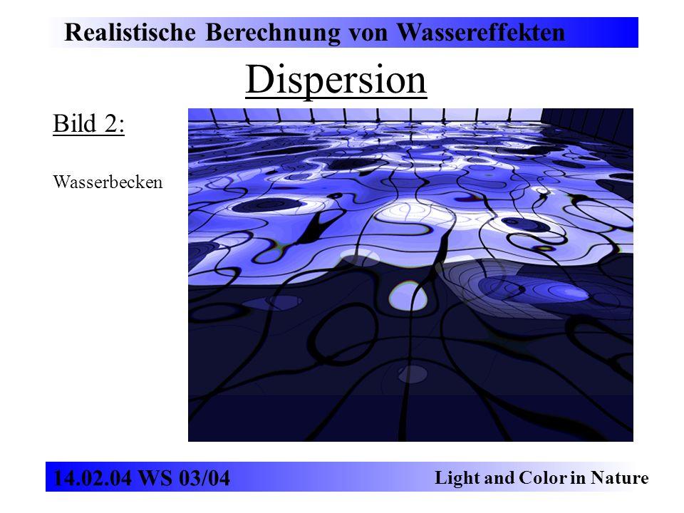 Dispersion Realistische Berechnung von Wassereffekten Light and Color in Nature 14.02.04 WS 03/04 Bild 2: Wasserbecken