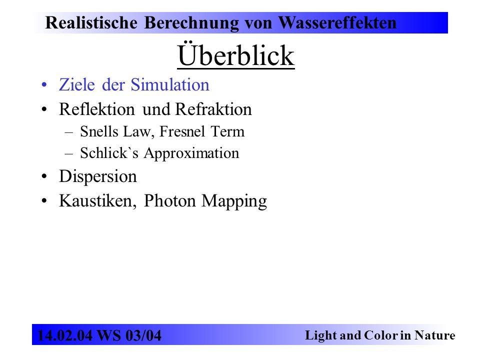 Photon Mapping Realistische Berechnung von Wassereffekten Light and Color in Nature 14.02.04 WS 03/04