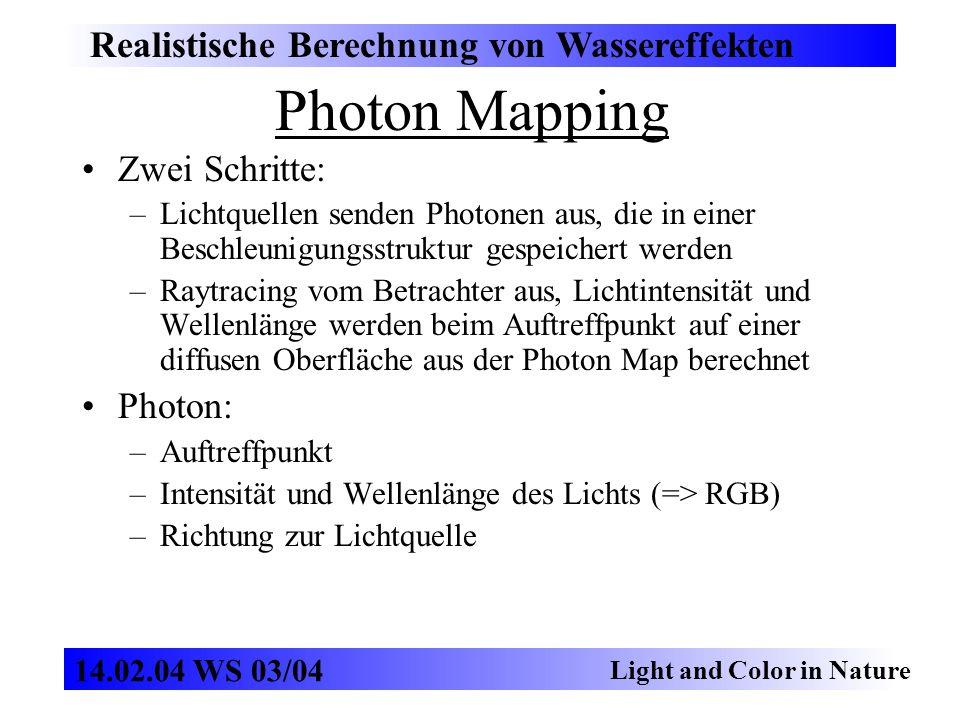 Photon Mapping Realistische Berechnung von Wassereffekten Light and Color in Nature 14.02.04 WS 03/04 Zwei Schritte: –Lichtquellen senden Photonen aus, die in einer Beschleunigungsstruktur gespeichert werden –Raytracing vom Betrachter aus, Lichtintensität und Wellenlänge werden beim Auftreffpunkt auf einer diffusen Oberfläche aus der Photon Map berechnet Photon: –Auftreffpunkt –Intensität und Wellenlänge des Lichts (=> RGB) –Richtung zur Lichtquelle