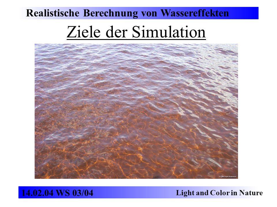 Ziele der Simulation Realistische Berechnung von Wassereffekten Light and Color in Nature 14.02.04 WS 03/04