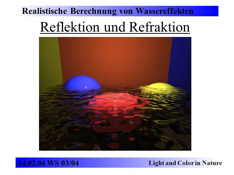 Reflektion und Refraktion Realistische Berechnung von Wassereffekten Light and Color in Nature 14.02.04 WS 03/04