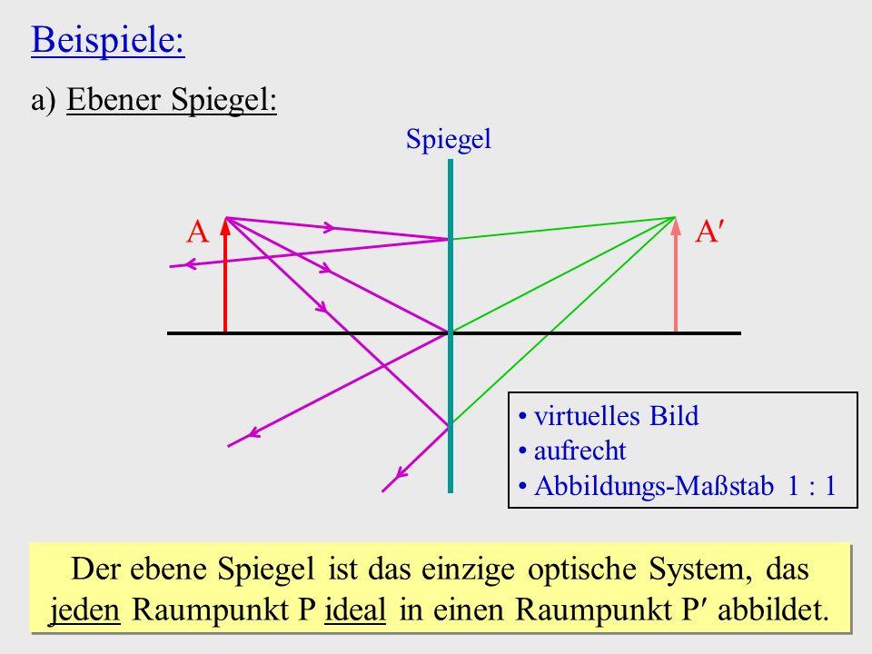 A Beispiele: a) Ebener Spiegel: Spiegel A virtuelles Bild aufrecht Abbildungs-Maßstab 1 1 Der ebene Spiegel ist das einzige optische System, das jeden