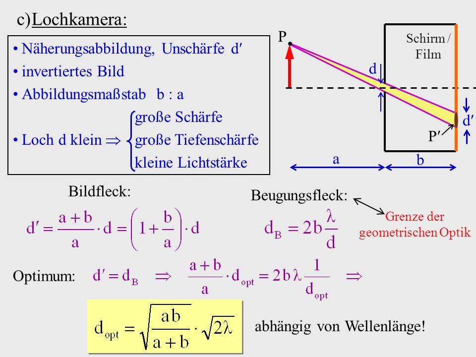 c)Lochkamera: Schirm / Film a b d P P d Näherungsabbildung, Unschärfe d invertiertes Bild Abbildungsmaßstab b a große Schärfe Loch d klein große Tiefe