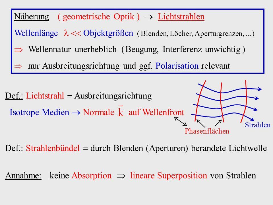 Näherung ( geometrische Optik ) Lichtstrahlen Wellenlänge Objektgrößen ( Blenden, Löcher, Aperturgrenzen,... ) Wellennatur unerheblich ( Beugung, Inte