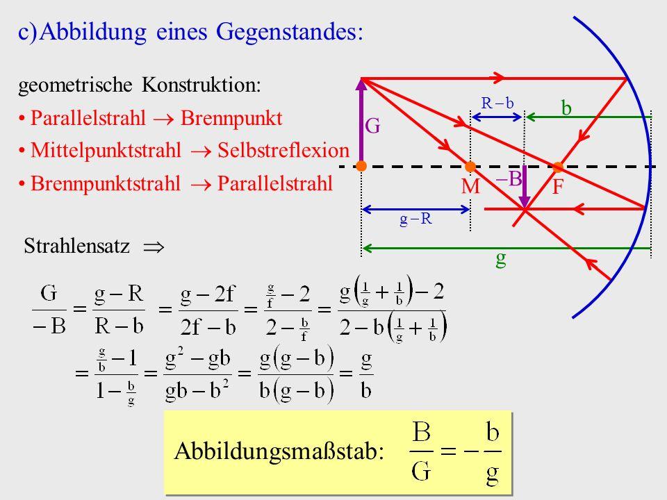 B c)Abbildung eines Gegenstandes: b M g F G geometrische Konstruktion: Parallelstrahl Brennpunkt Mittelpunktstrahl Selbstreflexion Brennpunktstrahl Pa