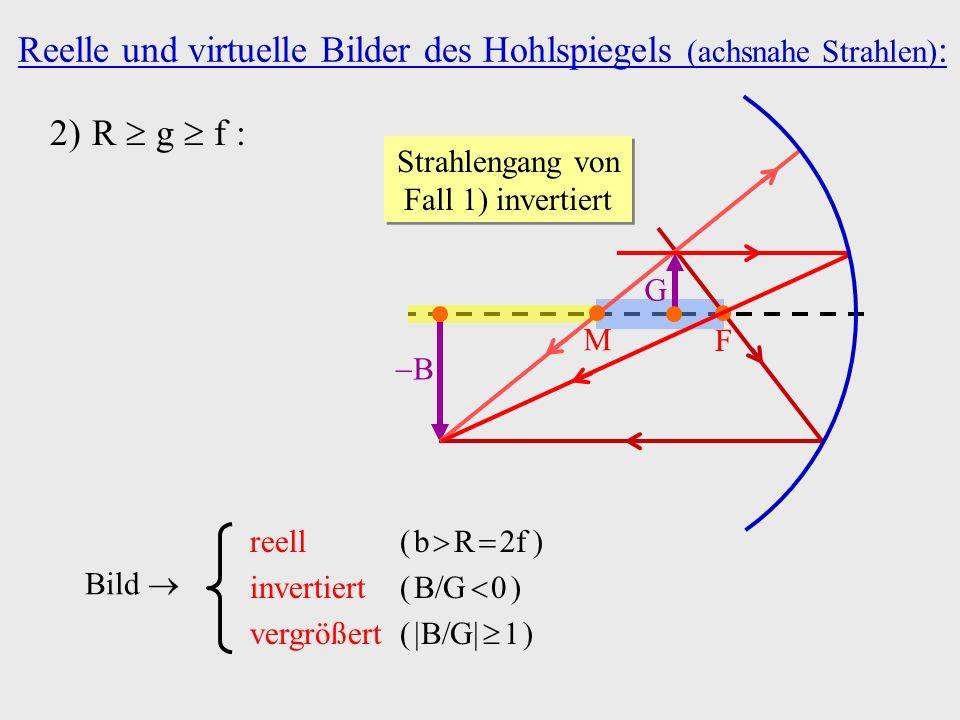 2)R g f : Bild reell ( b R 2f ) invertiert ( B G 0 ) vergrößert ( B G 1 ) Strahlengang von Fall 1) invertiert B M F G Reelle und virtuelle Bilder des