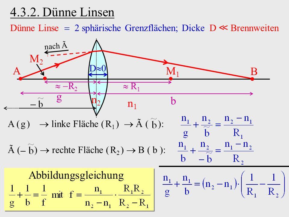 4.3.2. Dünne Linsen Dünne Linse 2 sphärische Grenzflächen; Dicke D Brennweiten A ( g ) linke Fläche ( R 1 ) Ã ( ): R 2 n1n1 n2n2 M1M1 R 1 A g B b M2M2