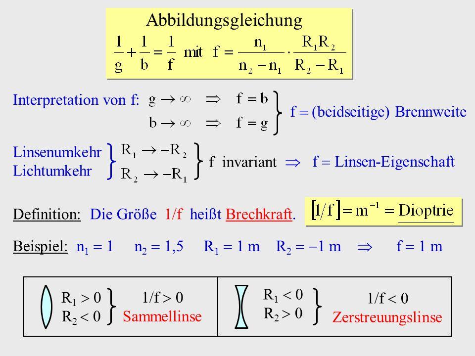 Interpretation von f: f (beidseitige) Brennweite Linsenumkehr Lichtumkehr f Linsen-Eigenschaft f invariant Definition: Die Größe 1/f heißt Brechkraft.