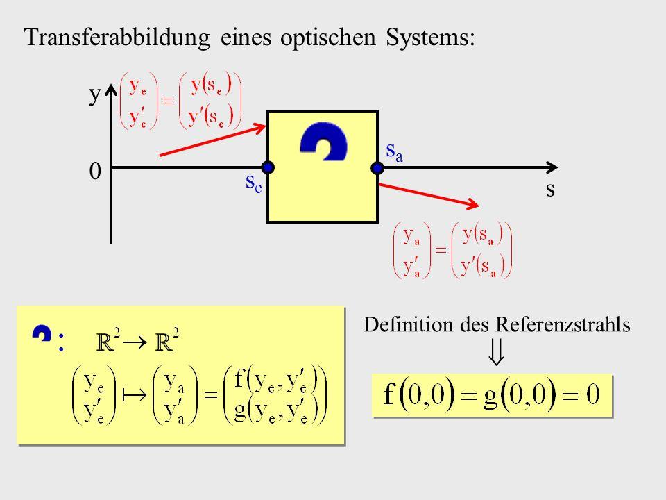 Transferabbildung eines optischen Systems: s y 0 sese sasa Definition des Referenzstrahls :