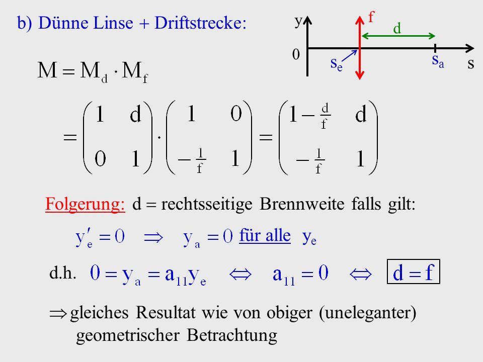 b)Dünne Linse Driftstrecke: s y 0 f sese sasa d Folgerung: d rechtsseitige Brennweite falls gilt: für alle y e d.h. gleiches Resultat wie von obiger (