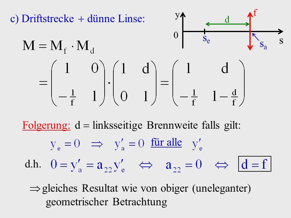 c)Driftstrecke dünne Linse: s y 0 f sasa sese d Folgerung: d linksseitige Brennweite falls gilt: für alle d.h. gleiches Resultat wie von obiger (unele