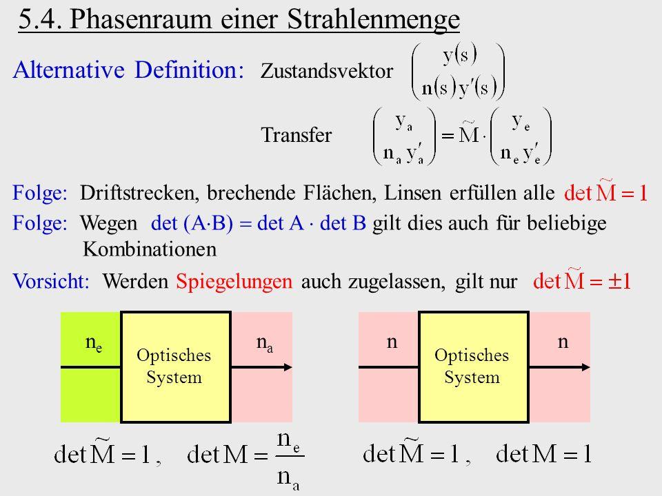 5.4. Phasenraum einer Strahlenmenge Alternative Definition: Zustandsvektor Transfer Folge: Wegen det A B det A det B gilt dies auch für beliebige Komb
